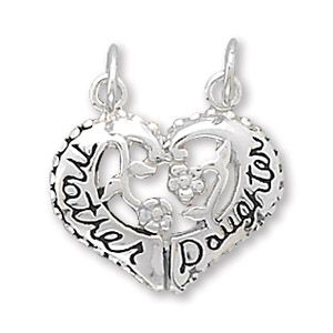 Heart 925 Silver Mother Daughter Necklace Pendant