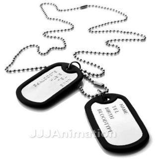 Silver Black Army Name Dog Tags Men Pendant Necklace VU0257