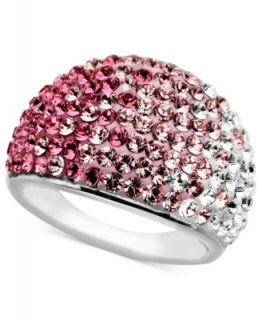 Kaleidoscope Sterling Silver Ring, Pink Crystal Ring with Swarovski