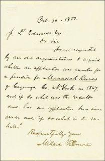 Millard Fillmore Autograph Letter Signed 10 20 1850
