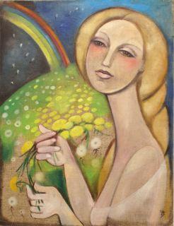Modern Vintage Russian Oil Painting Woman w Dandelions