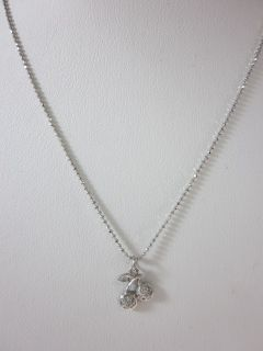 New Designer 14kt White Gold Diamond Cherry Necklace