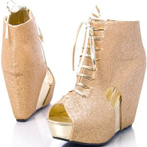 Gold Glitter Platform Covered Wedge Bootie Heel ZENA21