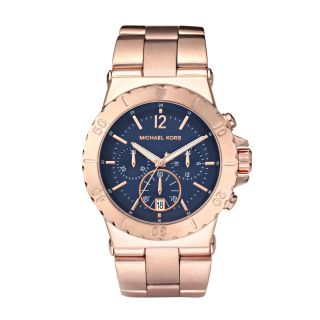 New Authentic Michael Kors Rose Gold Navy Dial Oversized Watch MK5410