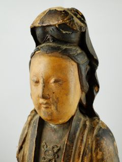Chinese Ming Dynasty Wood Carved Guanyin Buddha