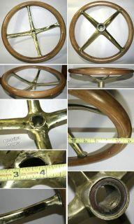 Old Wooden Steering Wheel Brass Spider Wood 1900 1920