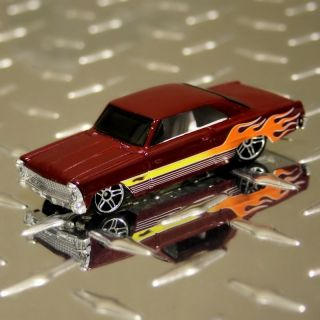 Hot Wheels 2008 1966 Chevy Chevrolet Nova Mystery Red Burgundy Maroon