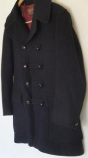 Vintage Mans Navy Blue Wool Pendleton Double Breasted Short Coat C46