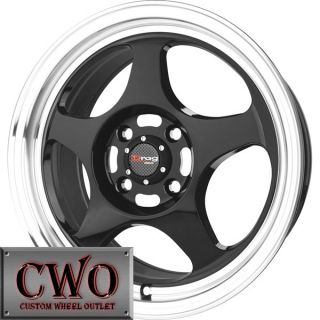 15 Black Drag Dr 23 Wheels Rims 4x100 4 Lug Civic Mini Miata Cobalt XB