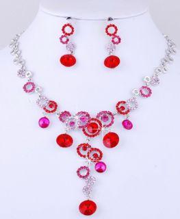 Set Bib Choker Huge Necklace Earrings Gold Silver Options