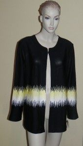 Ming Wang Black Yellow White Jacket Plus Size 1x