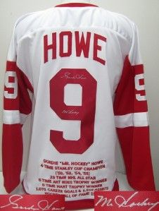 Howe Signed Detroit Red Wings Custom White Stat Jersey SI