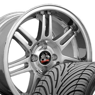 10 Chrome 10th Anniversary Wheels ZR Tires Rims Fit Mustang® GT 79 93
