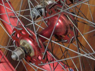 Old School BMX Wheels ACS Z Rims Sunshine Hubs Red Used Flip Flop Rear