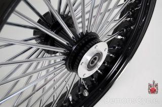 Black 21 18 Wheels Fat Mammoth 48 Spokes Fit Harley Fatboy Dresser