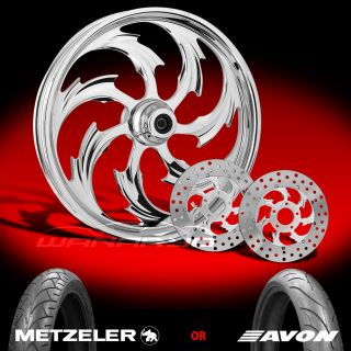 Assault Chrome 21 Front Wheel, Tire & Dual Rotors for 2000 13 Harley