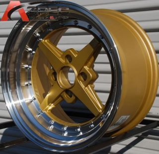 15x8 Rota Zero Plus 4x100 20 Royal Tommy Gold Wheel Fits Integra Civic