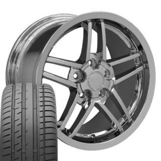 17 18 9 5 10 5 Chrome Corvette Z06 Rivet Wheels Conti Tires Rims Fit