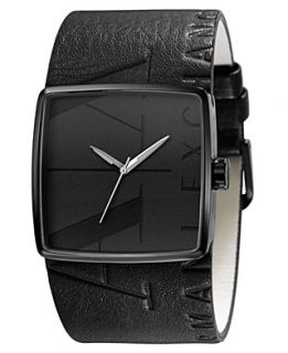 Armani Exchange Watch, Black Leather Cuff Strap 38mm AX6002