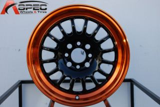 15X7 ROTA TRACK R2 4X100 +40 BLACK CANDY TONE ORANGE WHEEL FITS CIVIC