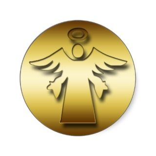 GOLD GUARDIAN ANGEL ROUND STICKER