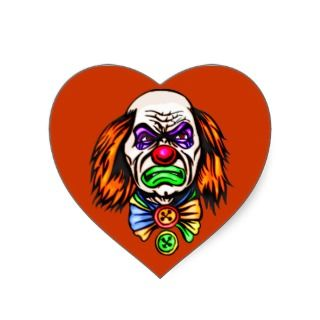 Evil Clown Face Heart Stickers