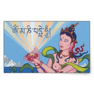 STICKER SHEET   Offering Goddess & Tibetan Mantra
