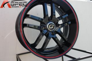 17X7.5 G LINE G817 WHEEL 5X112/114.3 +38 BLACK RED RIM FITS JETTA TSX
