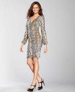 INC International Concepts Dress, Long Sleeve Metallic Snake Print