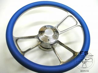14 Blue Half Wrap Billet Steering Wheel w/ Adapter Chevy Jeep Pontiac