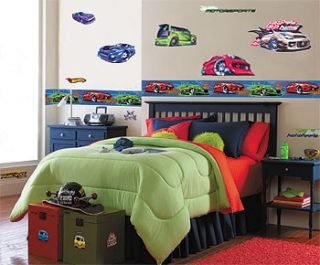New Hot Wheels Boys Room Wall Paper Border Sports Cars
