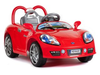 Ride on Remote Control Power Sports Car  Red Chrome Wheels