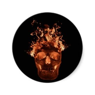 Orange Flaming Skull Stickers