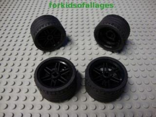 Lego Technic Tires w Rims 37 x 22 Large Black Wheels Tire Rim