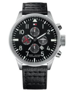 Tommy Hilfiger Watch, Mens Black Leather Strap 45mm 1790859   All