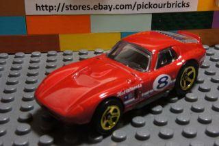 Hot Wheels Red Shelby Cobra Daytona Coupe Diecast Silver Chrome Rims 8