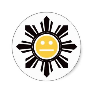 Filipino Sun Face   Yellow Sticker