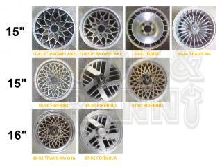77 92 Firebird Trans Am GTA Center Caps Wheel Hub Chrome Gray Pontiac