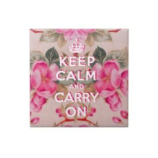 Girly keep calm..Vintage pink elegant floral roses Ceramic Tile