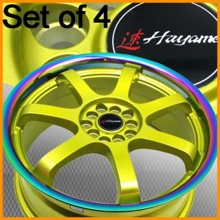 Hayame 18x7 5 5x100 114 Gold Wheel Rim Titanium Lip