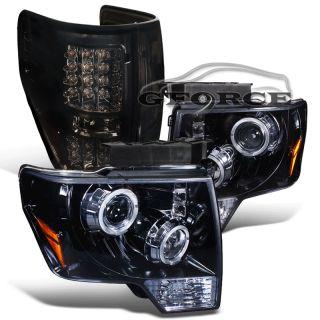 Glossy Black 09 12 F150 Halo Rim Projector Smoke Headlights Full LED