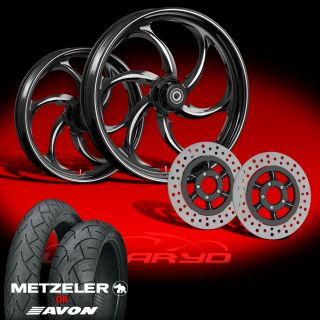 Wanaryd Reactor Black 21 Wheels Tires Dual Rotors for 2000 08 Harley