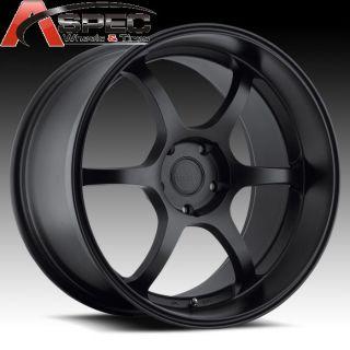 19 Staggered JDM 5x114 3 Matt Black Wheels Fits Nissan 350Z 370Z G35