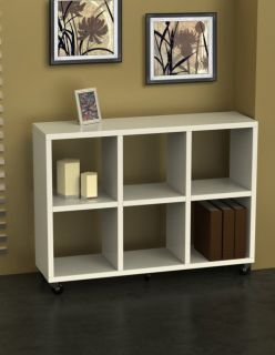 Concepts Modern Wood Bookcase Shelf Divider w Wheels White