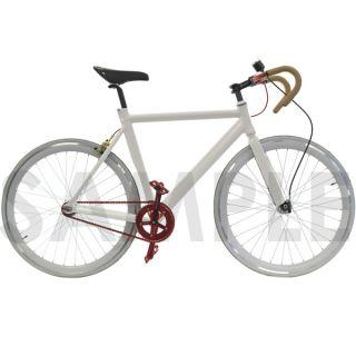 Track Fixie Road Bike Frame with Fork White 53cm