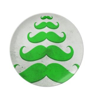 Funny green mustache, Christmas tree shape Plates