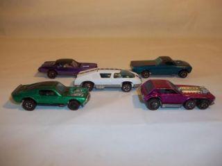 HOT WHEELS REDLINE CARS; OPEN FIRE, MUSTANG, ELDORADO, FLEETSIDE, CREW