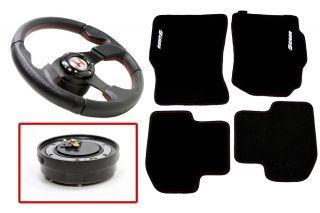 Floor Mat+Quick Release Steering Wheel 94 01 Integra Type R Silver/Red