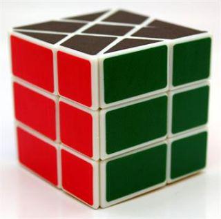 New Heshu Spring Speed Wheels Magic Cube Puzzle Toy White Skewb RARE