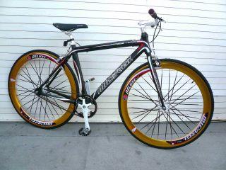 Fixed Gear Alloy Road Bike 53 cm w Deep 50cm Rim Flat Bladed Spokes